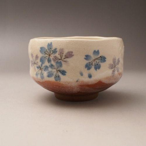 日本美濃燒迷你抹茶碗-360度環繞平安櫻 藍